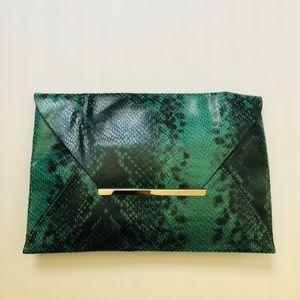 BCBG Maxazria Snake Embossed Envelope Clutch